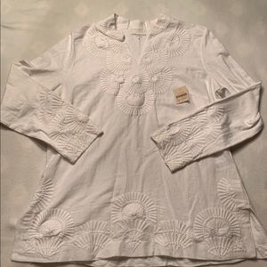 Goldwater Creek White Blouse Tunic Size Large
